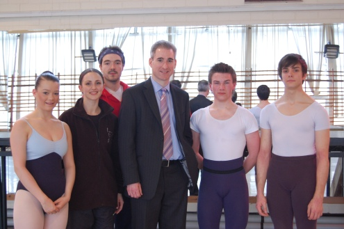 Greg Mulholland with student Lydia Lea, dancers Hannah Bateman and Kenneth Tindall and students Matthew Topliss and Matthew Valentine. Photo by Megan McLoughlin