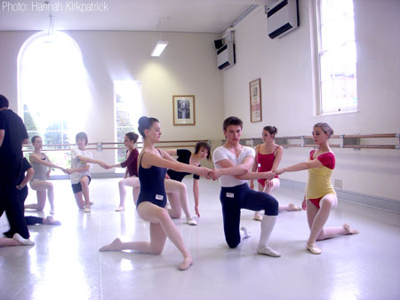 Megan Hughes and Matt Topliss taking part in a ballet class with other CAT students