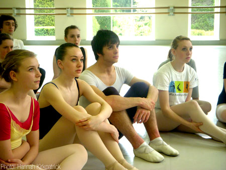 Sophie Hall and Matthew Valentine in ballet class