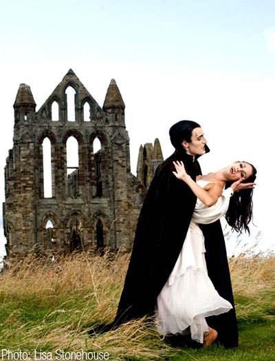 Christopher Hinton-Lewis as Dracula and Martha Leebolt as Mina at Whitby Abbey. Photo: Lisa Stonehouse