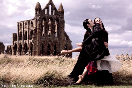 Christopher Hinton-Lewis & Martha Leebolt as Dracula & Mina at Whitby Abbey. Photo: Lisa Stonehouse.