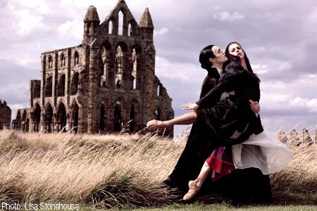 Christopher Hinton-Lewis & Martha Leebolt as Dracula & Mina at Whitby Abbey. Photo: Lisa Stonehouse.