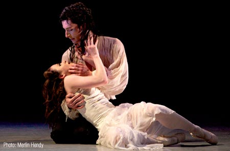 Tobias Batley and Georgina May as Cathy and Heathcliff in Northern Ballet Theatre's Production of Wuthering Heights [Photo: Merlin Hendy]
