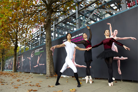 Northern Ballet Theatre dancers in front of the new hoardings