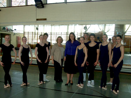 Rachel Reeves and Lucinda Yeadon with Academy students in West Park