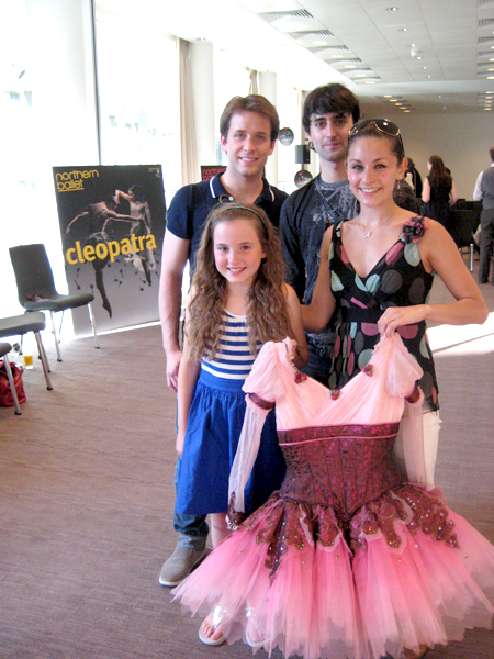Budding Ballerina Hannah with Northern Ballet Theatre Dancers