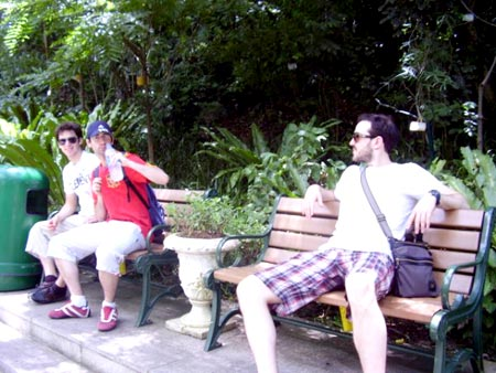 Jeremy, Thomas and Kenneth relaxing in the Gardens