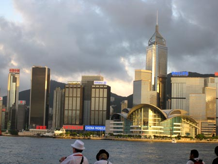 The awe-inspiring cityscape from across Hong Kong harbour