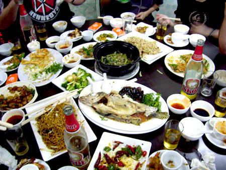 Farewell dinner spread