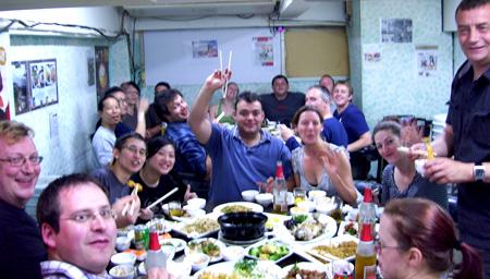 The crew's farewell dinner