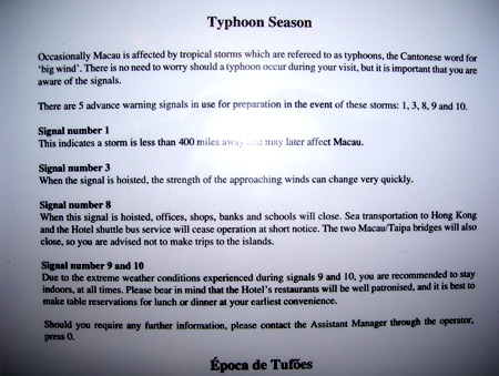 Typhoon warning notices