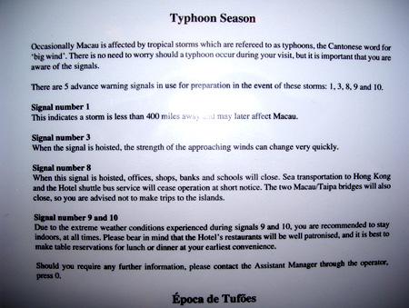 Typhoon warning notices