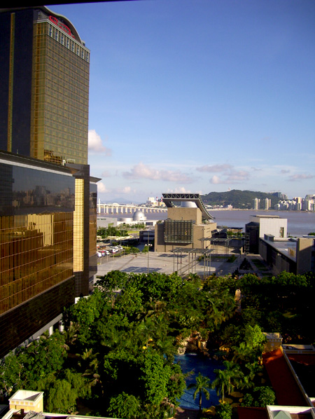 View of the theatre from the hotel room in Macau